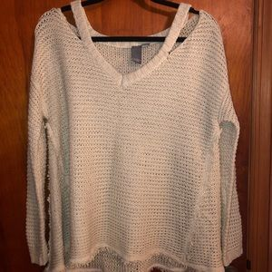 Shoulder Cut-out Raw Edge Sweater